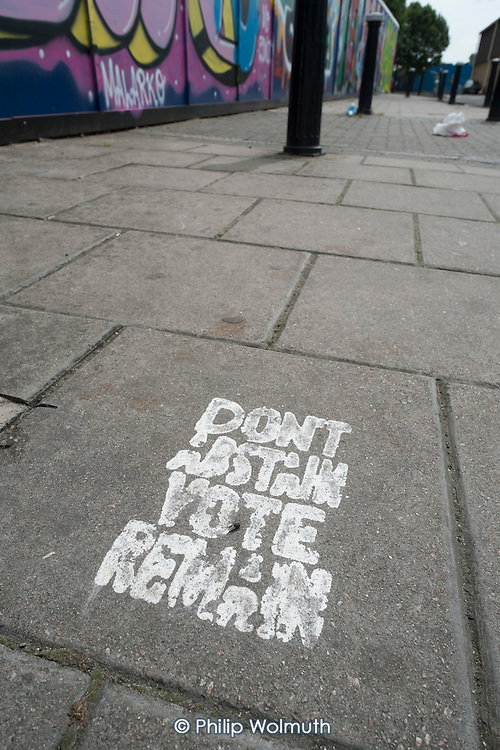 Painted Vote Remain stencil on a pavement in Hackney Wick, London.