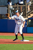Hudson Valley Renegades first baseman Casey Gillaspie (43) waits for a throw during the game against the Brooklyn Cyclones at Dutchess Stadium on June 18, 2014 in Wappingers Falls, New York.  The Cyclones defeated the Renegades 4-3 in 10 innings.  (Brian Westerholt/Four Seam Images)
