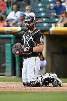 John Hester (22) of the Salt Lake Bees on defense against the Reno Aces in Pacific Coast League action at Smith's Ballpark on July 23, 2014 in Salt Lake City, Utah.  (Stephen Smith/Four Seam Images)