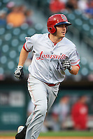 Louisville Bats left fielder Steve Selsky (13) runs to first base during a game against the Buffalo Bisons on June 20, 2016 at Coca-Cola Field in Buffalo, New York.  Louisville defeated Buffalo 4-1.  (Mike Janes/Four Seam Images)