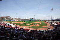 A general view of Perfect Game Field at Veterans Memorial Stadium during a game between the Cedar Rapids Kernels and Lansing Lugnuts on April 30, 2013 in Cedar Rapids, Iowa. (Brace Hemmelgarn/Four Seam Images)