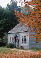 Exterior of a building at the Passaconaway Historic Site in the White Mountain National Forest in autumn. New Hampshire.
