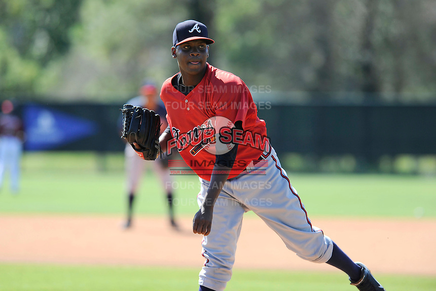 Pitcher Francisco Rondon (46) of the Atlanta Braves farm system in a Minor League Spring Training workout on Monday, March 16, 2015, at the ESPN Wide World of Sports Complex in Lake Buena Vista, Florida. (Tom Priddy/Four Seam Images)
