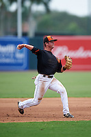 GCL Orioles third baseman Frank Crinella (9) warmup throw to first during the second game of a doubleheader against the GCL Rays on August 1, 2015 at the Ed Smith Stadium in Sarasota, Florida.  GCL Orioles defeated the GCL Rays 11-4.  (Mike Janes/Four Seam Images)