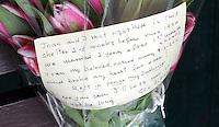 """Pictured: The flowers left at the bus shelter in the centre of Neath south Wales.<br /> RRe: Every month heartbroken widower, Franco Gorno travels to a bus shelter in Neath outside Victoria Gardens to place flowers at the spot where he first met Joan 64 years ago.<br /> His story came to light after Neath man Simon Watkins found the bouquet of flowers and an emotional note left at the bus shelter.<br /> The note, which was not signed, said: """"Joan, my beloved, passed away on 09/03/2013 and broke my heart for ever! Rest in peace my darling.<br /> """"I'll see you soon, I'll be 87 soon so I will not be long...God bless.""""<br /> Thousands of people shared and liked the story on the Evening Post's Facebook page, which led to Franco's granddaughter Katie Stewart to contact the Post and reveal who the mystery couple are.<br /> Ms Stewart, who is originally from Neath, but now lives in Ystradgynlais, said one of her friends posted the story on Facebook.<br /> """"It is very touching,"""" she said. """"He is very sentimental.<br /> """"He also came down at Christmas and spoke to a gentleman in a cafe near the park.<br /> """"He just says that spot is sentimental to him."""