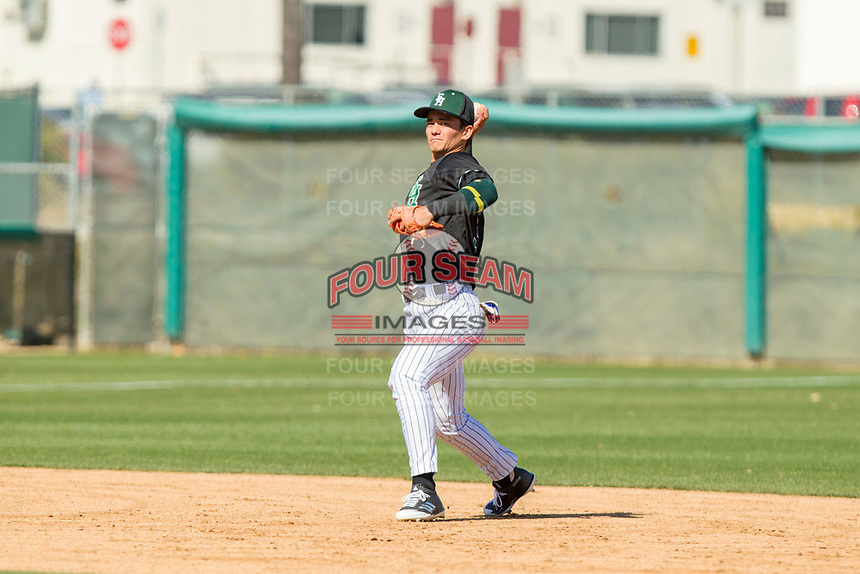 South Hills Huskies Shortstop Brandon Dieter (9) during the game between the South Hills Huskies and the Carter Lions at Mt. San Antonio Community College on February 24, 2018 in Walnut, California during the Frozen Ropes Classic.  (Donn Parris/Four Seam Images)