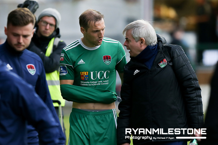 Karl Sheppard of Cork eaves the field at half time injured during the SSE Airtricity League Premier Division game between Cork City and Bohemians on Friday 15th June 2018 at Turners Cross, Cork. Photo By Michael P Ryan