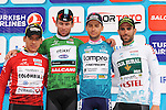 The Jersey winners L-R Red Mountains Juan Pablo Valencia (COL) Team Colombia, Green Sprint Mark Cavendish (GBR) Etixx-Quick Step, Overall Winner Turquoise Kristijan Durasek (CRO) Lampre-Merida and White Turkish Beauties Luis Mas (ESP) Caja Rural-Seguros RGA at the end of Stage 8 of the 2015 Presidential Tour of Turkey running 124km from Istanbul to Istanbul. 3rd May 2015.<br /> Photo: Tour of Turkey/Mario Stiehl/www.newsfile.ie