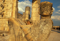 Mexico, Yucatan,Chichen Itza, Statue of Chac Mool the Mayan rain god, Temple of Warriors