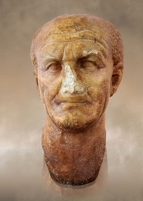 Roman sculpture of the Emperor Vespesien, excavated  from Althiburos sculpted circa  69-79AD. The Bardo National Museum, Tunis, Inv No: C.1025
