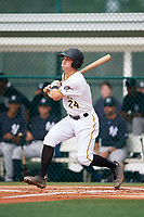 GCL Pirates shortstop Kyle Mottice (24) grounds out during the first game of a doubleheader against the GCL Yankees East on July 31, 2018 at Pirate City Complex in Bradenton, Florida.  GCL Yankees East defeated GCL Pirates 2-0.  (Mike Janes/Four Seam Images)