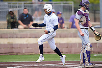 Dallas Jesuit Rangers Jordan Lawlar (5) scores a run during a game against the Richardson Eagles on April 24, 2021 at Wright Field in Dallas, Texas.  (Ken Murphy/Four Seam Images)