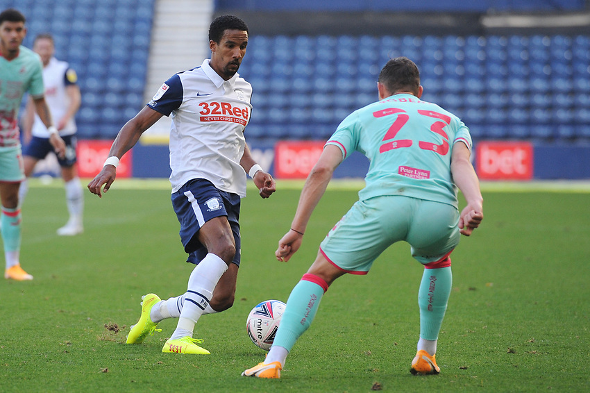 Preston North End's Scott Sinclair under pressure from Swansea City's Connor Roberts<br /> <br /> Photographer Kevin Barnes/CameraSport<br /> <br /> The EFL Sky Bet Championship - Preston North End v Swansea City - Saturday September 12th 2020 - Deepdale - Preston<br /> <br /> World Copyright © 2020 CameraSport. All rights reserved. 43 Linden Ave. Countesthorpe. Leicester. England. LE8 5PG - Tel: +44 (0) 116 277 4147 - admin@camerasport.com - www.camerasport.com
