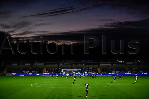 21st November 2020; Adams Park Stadium, Wycombe, Buckinghamshire, England; English Football League Championship Football, Wycombe Wanderers versus Brentford; A near miss for Wycombe.