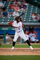 Indianapolis Indians Pablo Reyes (3) bats during an International League game against the Syracuse Mets on July 16, 2019 at Victory Field in Indianapolis, Indiana.  Syracuse defeated Indianapolis 5-2  (Mike Janes/Four Seam Images)