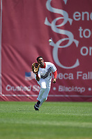 Auburn Doubledays center fielder Armond Upshaw (8) catches a fly ball during the first game of a doubleheader against the Mahoning Valley Scrappers on July 2, 2017 at Falcon Park in Auburn, New York.  Mahoning Valley defeated Auburn 3-0.  (Mike Janes/Four Seam Images)