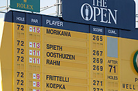 18th July 2021; Royal St Georges Golf Club, Sandwich, Kent, England; The Open Championship Golf, Day Four; a view o the main scoreboard above the 18th green after the conclusion of play