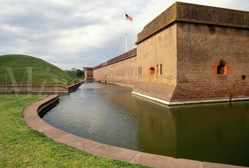 AJ3986, Fort Pulaski, Savannah, fort, Georgia, Fort Pulaski National Monument, Moat around the fort at Fort Pulaski Nat'l Monument in the state of Georgia.
