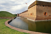 AJ3986, Fort Pulaski, Savannah, fort, Georgia, Fort Pulaski National Monument, Moat around the fort at Fort Pulaski Nat'l Monument in the state of Georgia.