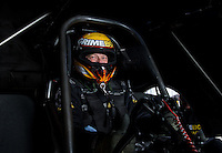 Sept. 1, 2013; Clermont, IN, USA: NHRA funny car driver Jeff Arend during qualifying for the US Nationals at Lucas Oil Raceway. Mandatory Credit: Mark J. Rebilas-