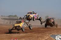 Apr 17, 2011; Surprise, AZ USA; LOORRS driver Brandon Bailey (17) leads John Holmes (3) and Phil Bollman(65) during round 4 at Speedworld Off Road Park. Mandatory Credit: Mark J. Rebilas-
