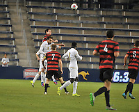Kansas City, Kansas - Friday, December 11, 2015: Stanford defeats Akron 8-7 on penalty kicks in NCAA D1 Men's Soccer Semifinal play and advance to the 2015 College Cup Final at Sporting Park.