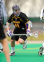 10 April 2011: University at Albany Great Dane midfielder Matt Mackenzie, a Sophomore from Stony Plain, Alberta, in action against the University of Vermont Catamounts on Moulton Winder Field in Burlington, Vermont. The Catamounts defeated the visiting Danes 11-6 in America East play. Mandatory Credit: Ed Wolfstein Photo