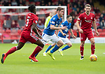 Aberdeen v St Johnstone…14.09.19   Pittodrie   SPFL<br />Anthony Ralston drives between Greg Leigh and Craig Bryson<br />Picture by Graeme Hart.<br />Copyright Perthshire Picture Agency<br />Tel: 01738 623350  Mobile: 07990 594431