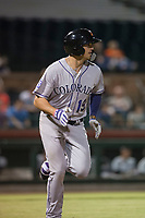 Salt River Rafters first baseman Josh Fuentes (19), of the Colorado Rockies organization, hustles down the first base line during an Arizona Fall League game against the Scottsdale Scorpions at Scottsdale Stadium on October 12, 2018 in Scottsdale, Arizona. Scottsdale defeated Salt River 6-2. (Zachary Lucy/Four Seam Images)
