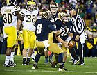 Sept. 22, 2012; Notre Dame quarterback Tommy Rees celebrates his second quarter touchdown with wide receiver Robby Toma against Michigan. Photo by Barbara Johnston/University of Notre Dame