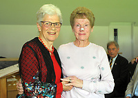 Maureen Peters (right) with Trish McKelvey. Cricket Wellington membership badge presentations in the Long Room at the Basin Reserve in Wellington, New Zealand on Saturday, 14 November 2020. Photo: Dave Lintott / lintottphoto.co.nz