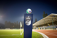 illustration picture showing the ball on the Scooore Super League ball holder ahead of the female soccer game between FC Femina White Star Woluwe and Eendracht Aalst on the sixth matchday in the 2021 - 2022 season of Belgian Scooore Womens Super League , friday 8 th of october 2021  in Woluwe , Belgium . PHOTO SPORTPIX | KRISTOF DE MOOR