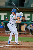 Dillon Paulson (14) of the Ogden Raptors bats during a game against the Grand Junction Rockies at Lindquist Field on September 7, 2018 in Ogden, Utah. The Rockies defeated the Raptors 8-5. (Stephen Smith/Four Seam Images)