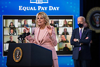 First Lady Dr. Jill Biden delivers remarks during an event to mark Equal Pay Day in the State Dining Room of the White House in Washington, DC, USA, 24 March 2021. Equal Pay Day marks the extra time it takes an average woman in the United States to earn the same pay that their male counterparts made the previous calendar year.<br /> CAP/MPI/RS<br /> ©RS/MPI/Capital Pictures