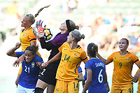 Carson, CA - Thursday August 03, 2017: Dani Neuhaus, Monica, Alanna Kennedy during a 2017 Tournament of Nations match between the women's national teams of Australia (AUS) and Brazil (BRA) at the StubHub Center.