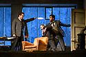 "London, UK. 24.11.2018. English National Opera present their fourth revival of Jonathan Miller's production of Puccini's ""La Boheme"", in which Natalya Romaniw makes her ENO debut. Cast is: Natalya Romaniw (Mimi), Jonathan Tetelman (Rodolfo), Nicholas Lester (Marcello), Simon Butteriss (Benoit/Alcindoro), Nadine Benjamin (Musetta), David Soar (Colline), Bozidar Smiljanic (Schaunard). Picture shows: Bozidar Smiljanic (Schaunard), Simon Butteris (Benoit), Jonathan Tetelman (Rodolfo). Photograph © Jane Hobson."
