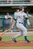 Ike Davis #18 of Team USA follows through on his swing versus Team Canada at the USA Baseball National Training Center, September 4, 2009 in Cary, North Carolina.  (Photo by Brian Westerholt / Four Seam Images)