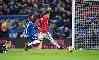 Jesse Lingard of Man Utd misses an open goal after past Goalkeeepr Kasper Schmeichel of Leicester City  during the EPL - Premier League match between Leicester City and Manchester United at the King Power Stadium, Leicester, England on 23 December 2017. Photo by Andy Rowland.