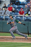 David Bote #39 of the Boise Hawks bats against the Everett AquaSox at Everett Memorial Stadium on July 25, 2014 in Everett, Washington. Everett defeated Boise, 2-1. (Larry Goren/Four Seam Images)
