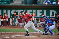 Nick Hutchins (30) of the Idaho Falls Chukars breaks his bat on a swing during a game against the Ogden Raptors at Lindquist Field on August 29, 2018 in Ogden, Utah. Idaho Falls defeated Ogden 15-6. (Stephen Smith/Four Seam Images)