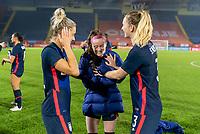 BREDA, NETHERLANDS - NOVEMBER 27: Kristie Mewis #22, Rose Lavelle #16 and Samantha Mewis #3 of the USWNT joke around after a game between Netherlands and USWNT at Rat Verlegh Stadion on November 27, 2020 in Breda, Netherlands.