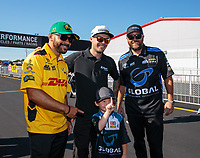 Sep 3, 2018; Clermont, IN, USA; NHRA funny car driver J.R. Todd (left) with Jonnie Lindberg and Shawn Langdon during the US Nationals at Lucas Oil Raceway. Mandatory Credit: Mark J. Rebilas-USA TODAY Sports
