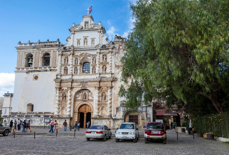 Antigua, Guatemala.  Facade of the Church of San Francisco.