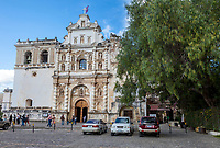 Antigua, Guatemala.  Facade of the Church of San Francisco.