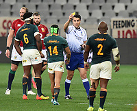 Referee Ben Okeeffe only gives Springbok winger Cheslin Kolbe a yellow card after 'taking out' Lions scrum half Conor Murray in the air.<br /> South Africa v British & Irish Lions, 2nd Test, Cape Town Stadium, Cape Town, South Africa,  Saturday 31st July 2021. <br /> Please credit: FOTOSPORT/DAVID GIBSON