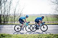Lluís Mas (ESP/Movistar) & Davide Martinelli (ITA/Astana - Premier Tech)<br /> <br /> 45th Oxyclean Classic Brugge-De Panne 2021 (ME/1.UWT)<br /> 1 day race from Bruges to De Panne (204km)<br /> <br /> ©kramon