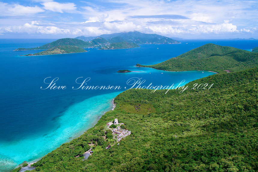 Aerial view of St John's Leinster Bay<br /> showing Annaberg Plantation<br /> British Virgin Islands in the backround<br /> U.S. Virgin Islands