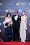 Paula Creamer and her husband Derek and Olivia Lee-Davies on the Red Carpet event at the World Celebrity Pro-Am 2016 Mission Hills China Golf Tournament on 20 October 2016, in Haikou, China. Photo by Marcio Machado / Power Sport Images