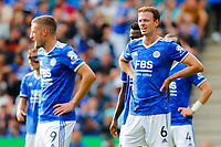 11th September 2021; King Power Stadium, Leicester, Leicestershire, England;  Premier League Football, Leicester City versus Manchester City; Jonny Evans of Leicester City during a break in play