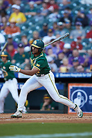 Davion Downey (9) of the Baylor Bears follows through on his swing against the LSU Tigers in game five of the 2020 Shriners Hospitals for Children College Classic at Minute Maid Park on February 28, 2020 in Houston, Texas. The Bears defeated the Tigers 6-4. (Brian Westerholt/Four Seam Images)
